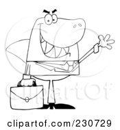 Royalty Free RF Clipart Illustration Of A Coloring Page Outline Of A Shark Businessman Carrying A Briefcase And Waving