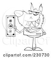 Royalty Free RF Clipart Illustration Of A Coloring Page Outline Of A Wolf Businessman Holding Cash
