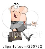 Royalty Free RF Clipart Illustration Of A White Businessman Walking With His Hand Out