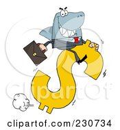 Royalty Free RF Clipart Illustration Of A Shark Businessman Riding On A Hopping Dollar Symbol