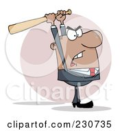 Royalty Free RF Clipart Illustration Of A Hispanic Businessman Holding A Bat Over His Head