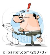 Royalty Free RF Clipart Illustration Of A White Businessman Reading A Long List Or Bill Over A Blue Circle