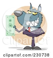 Royalty Free RF Clipart Illustration Of A Wolf Business Man Holding Cash Over A Beige Circle