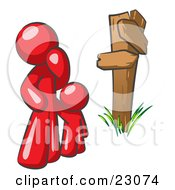 Clipart Illustration Of An Uncertain Red Man And Child Standing At A Wooden Post Trying To Decide Which Direction To Go At A Crossroads