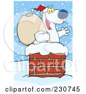 Royalty Free RF Clipart Illustration Of A Christmas Santa Polar Bear In A Chimney 3 by Hit Toon