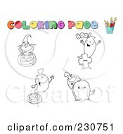 Royalty Free RF Clipart Illustration Of A Digital Collage Of Halloween Character Coloring Page Outlines 3 by Hit Toon