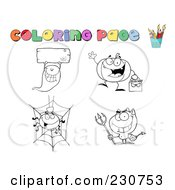 Royalty Free RF Clipart Illustration Of A Digital Collage Of Halloween Character Coloring Page Outlines 2 by Hit Toon