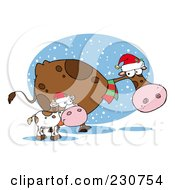Royalty Free RF Clipart Illustration Of Christmas Cows 2