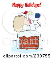 Royalty Free RF Clipart Illustration Of A Happy Holidays Greeting Over A Christmas Santa Polar Bear In A Chimney by Hit Toon
