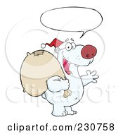Royalty Free RF Clipart Illustration Of A Christmas Santa Polar Bear 3 by Hit Toon