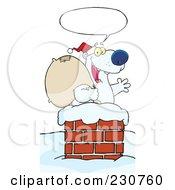 Royalty Free RF Clipart Illustration Of A Christmas Santa Polar Bear In A Chimney 2 by Hit Toon