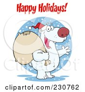 Royalty Free RF Clipart Illustration Of A Happy Holidays Greeting Over A Christmas Santa Polar Bear by Hit Toon