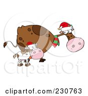 Royalty Free RF Clipart Illustration Of Christmas Cows 1