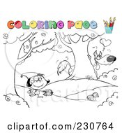 Royalty Free RF Clipart Illustration Of A Coloring Page Outline Of Little Red Riding Hood by Hit Toon