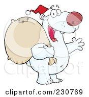 Royalty Free RF Clipart Illustration Of A Christmas Santa Polar Bear 1 by Hit Toon