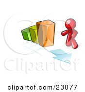 Clipart Illustration Of A Red Man Standing By An Increasing Green Yellow And Orange Bar Graph On A Grid Background With An Arrow