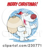 Royalty Free RF Clipart Illustration Of A Merry Christmas Greeting Over A Christmas Santa Polar Bear by Hit Toon