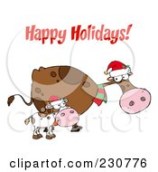 Royalty Free RF Clipart Illustration Of A Happy Holidays Greeting Over Christmas Cows by Hit Toon