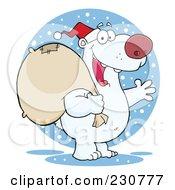 Royalty Free RF Clipart Illustration Of A Christmas Santa Polar Bear 2 by Hit Toon