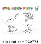 Royalty Free RF Clipart Illustration Of A Digital Collage Of Halloween Character Coloring Page Outlines 1 by Hit Toon