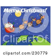 Royalty Free RF Clipart Illustration Of Merry Christmas Over Santa Waving And Flying Above Earth