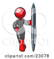 Clipart Illustration Of A Red Woman In A Gray Dress Standing With One Hand On Her Hip Holding A Huge Pen