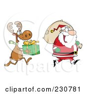 Royalty Free RF Clipart Illustration Of An Elf Carrying A Christmas Present Behind Santa