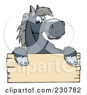 Royalty Free RF Clipart Illustration Of A Happy Gray Horse Looking Over A Blank Wood Sign by Hit Toon