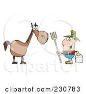 Royalty Free RF Clipart Illustration Of A Happy Caucasian Farmer By A Horse by Hit Toon