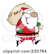 Royalty Free RF Clipart Illustration Of A Black Santa Clause Carrying A Sack
