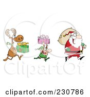 Royalty Free RF Clipart Illustration Of A Reindeer And Elf Carrying Christmas Presents Behind Santa