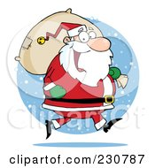 Royalty Free RF Clipart Illustration Of A Caucasian Santa Clause Carrying A Sack Over A Snow Circle