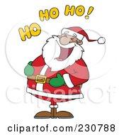 Royalty Free RF Clipart Illustration Of A Black Santa Laughing With Ho Ho Ho Text 1