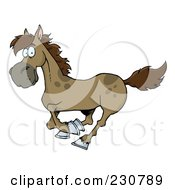 Royalty Free RF Clipart Illustration Of A Happy Brown Running Horse