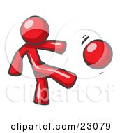 Clipart Illustration Of A Red Man Kicking A Ball Really Hard While Playing A Game