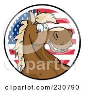 Royalty Free RF Clipart Illustration Of A Happy Horse Face Over An American Circle
