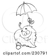 Royalty Free RF Clipart Illustration Of A Coloring Page Outline Of A Leaf Holding An Umbrella