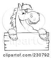 Royalty Free RF Clipart Illustration Of A Coloring Page Outline Of A Happy Horse Looking Over A Blank Wood Sign by Hit Toon #COLLC230792-0037