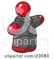 Clipart Illustration Of A Big Red Business Man In A Suit And Tie by Leo Blanchette