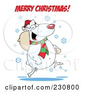 Royalty Free RF Clipart Illustration Of A Merry Christmas Greeting Over A Polar Bear Carrying A Bag by Hit Toon