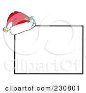 Royalty Free RF Clipart Illustration Of A Santa Hat Resting On A Rectangular Sign