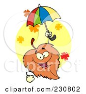 Royalty Free RF Clipart Illustration Of A Happy Fall Leaf Holding An Umbrella