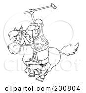 Royalty Free RF Clipart Illustration Of A Coloring Page Outline Of A Polo Player Holding Up A Stick by Hit Toon