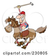 Royalty Free RF Clipart Illustration Of A Caucasian Polo Player Holding Up A Stick by Hit Toon