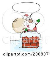 Royalty Free RF Clipart Illustration Of A Black Santa In A Chimney And Waving 2
