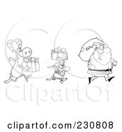 Royalty Free RF Clipart Illustration Of A Coloring Page Outline Of A Reindeer And Elf Carrying Christmas Presents Behind Santa