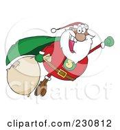 Royalty Free RF Clipart Illustration Of A Black Santa Super Hero Flying 1