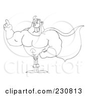Royalty Free RF Clipart Illustration Of A Coloring Page Outline Of A Super Hero Man Gesturing by Hit Toon