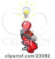 Smart Red Man Seated With His Legs Crossed Brainstorming And Writing Ideas Down In A Notebook Lightbulb Over His Head by Leo Blanchette