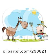 Royalty Free RF Clipart Illustration Of A Happy Caucasian Farmer Near A Horse by Hit Toon